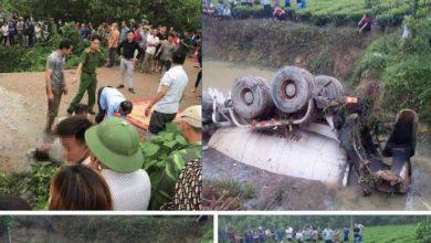 Tai nạn ở Thái Nguyên: Xe bồn lật ngửa dưới ao, tài xế tử vong 1